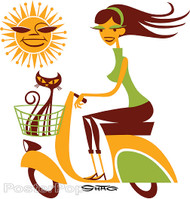 Shag Sun Scooter Sticker, Shag Cat, Sexy, Riding, Vespa, Warm, Alluring, Image