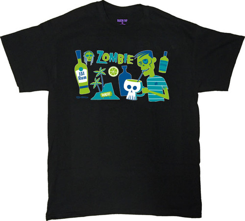 Shag Zombie T Shirt. Available on Black T-Shirts. Drink Recipe for a Zombie Drink. Image