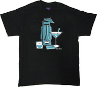 Shag Turquoise Tiki Drink T Shirt. Josh Agle Tiki Mug Design on Black Mens T-Shirt. Image