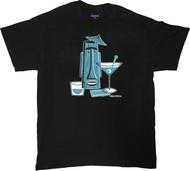 Shag Turquoise Tiki Drink T Shirt. Josh Agle Tiki Mug Design on Black Mens T-Shirt. Image