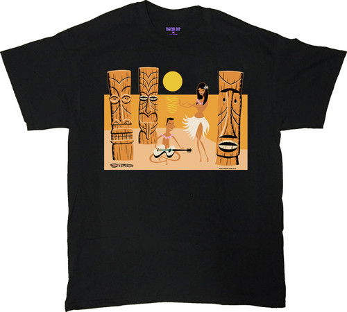 Shag Shag Tiki Beach T Shirt. Josh Agle Tiki, Hula Girl Guitar character on Beach with Sunset Design on Black Mens T-Shirt. Image