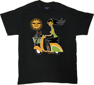 Shag Sun Scooter T Shirt Josh Agle Vespa Scooter Shag Girl and Shag Cat with Cartoon Sun Design on Black Mens T-Shirt. Image