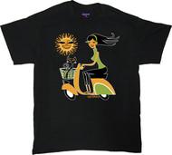 Shag Sun Scooter T Shirt Josh Agle Vespa Scooter Shag Girl and Shag Cat with Cartoon Sun Design on Black Mens T-Shirt. Image
