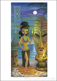 Aaron Stone Age Hula Girl Hand Signed Artist Print Image