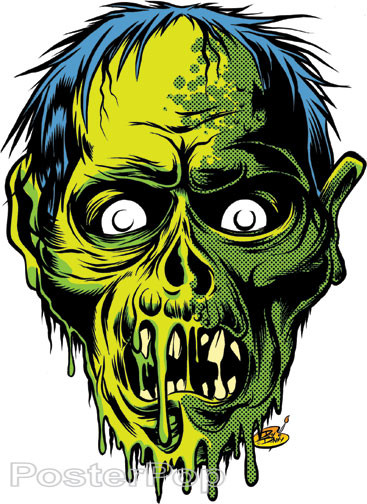 Dirty Donny Zombor Sticker Skull Green Zombie Image