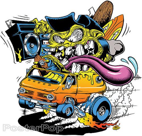 Dirty Donny Van On The Run Sticker 70's 60's Vans, Monster Surfer Image