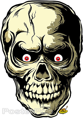 Dirty Donny Sculler Sticker. Human Skull