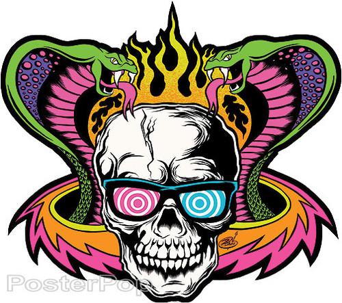 Dirty Donny Mind Melter Sticker, Cobras, Flaming Skull