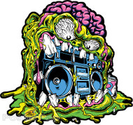 Dirty Donny Master Blaster Sticker, Monster, Melting, Ghetto Blaster, Music