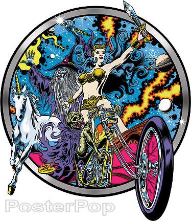 Dirty Donny Blacklight Rebellion Sticker, Motorcycle, Skeleton Biker, Cosmic, Queen, Unicorn