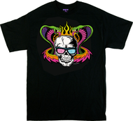 Dirty Donny Mind Melter T-Shirt, Flaming Skull, Cobras, Hot Rod, Blacklight