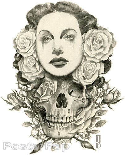 Gustavo Rimada White Lies Sticker, Beauty, Skull, Roses