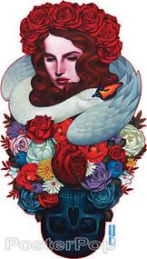 Gustavo Rimada Tart Black Soul Sticker, Girl, Skull Roses, Flowers Swan