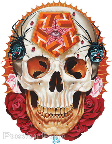 Gustavo Rimada Smile Now Cry Later Sticker, Skull, Drama, Pentagon, Pentagram, Spider, Black Widow, Roses