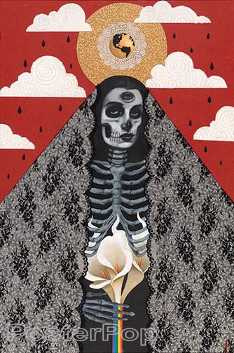 Gustavo Rimada Santa Muerte Sticker, Death, Earth, New Age, Chicano, Mexican, Nuclear War, Truth, Calla Lilly, Heart