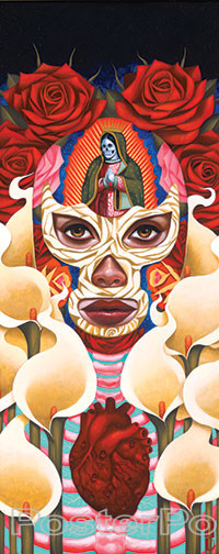 Gustavo Rimada Raices Luchadora Sticker, Masked, Wrestler, Roses, Heart, Mary, Guadalupe, Calla Lillies, Skeleton