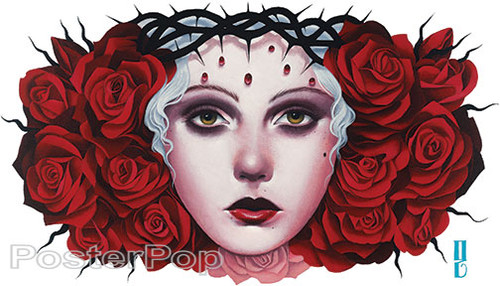 Gustavo Rimada Peliroja Sticker, Crist, Crown of Thorns, Woman, Girl, Sacred, Roses, Red Head