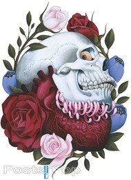 Gustavo Rimada Heart Controls the Mind Sticker, Skull, Heart, Flowers, Roses