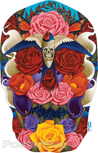 Gustavo Rimada Dark Paradise Sticker, Skull, Flowers, Blue Bird, Sparrow