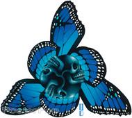 Gustavo Rimada Tres Puntos Sticker, Butterfly, Triangle, Skulls, Blue