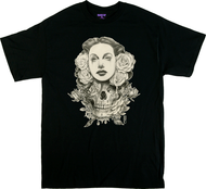 Gustavo Rimada White Lies T Shirt, Chicana Woman with Skull and Roses