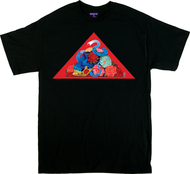 Artist Gustavo Rimada Blooming Serpent T Shirt, Skull, Snake, Roses,Red Triangle