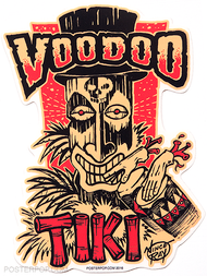 Artist Vince Ray Voodoo Tiki Poster Pop Die Cut Sticker