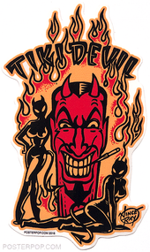 Artist Vince Ray Tiki Devil Poster Pop Die Cut Sticker