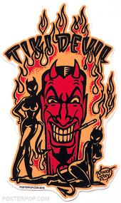 Artist Vince Ray Tiki Devil Poster Pop Die Cut Sticker