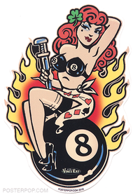 Vince Ray Classic Lady Luck Die Cut Poster Pop Sticker. Lucky Pinup on 8 Ball with 4 Leaf Clover, Monkey Wrench, Flames and Bra