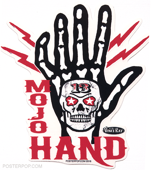 Vince Ray Mojo Bone Hand Die Cut Poster Pop Sticker