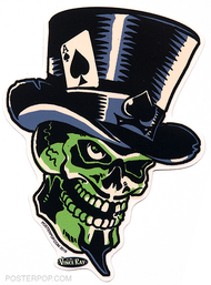 Vince Ray Green Skull Die Cut Poster Pop Sticker