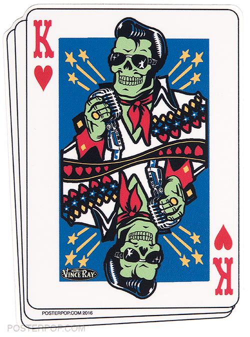 Vince Ray Elvis King Die Cut Poster Pop Sticker