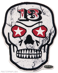 Vince Ray Skull 13 Die Cut Sticker by Poster Pop