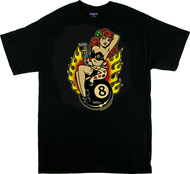 Vince Ray Classic Lady Luck T-Shirt with 4 Leaf Clover, Lucky Lady, 8 Ball, Monkey Wrench, Flames, Classic Remake