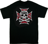 Vince Ray Iron Cross Skull 13 T-Shirt Back Print with Iron Cross, Skull n Bones, 13, Rockabilly
