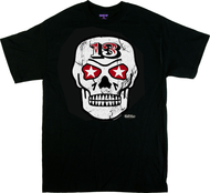 Vince Ray Skull 13 T-Shirt with Star Eyes, Tattoo, Sugar Skull, 13, Rockabilly