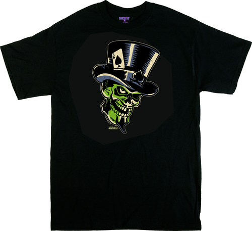 Vince Ray Green Skull T-Shirt by Poster Pop, Front Print, Skull, Top Hat, Ace of Spades, 13, Rockabilly