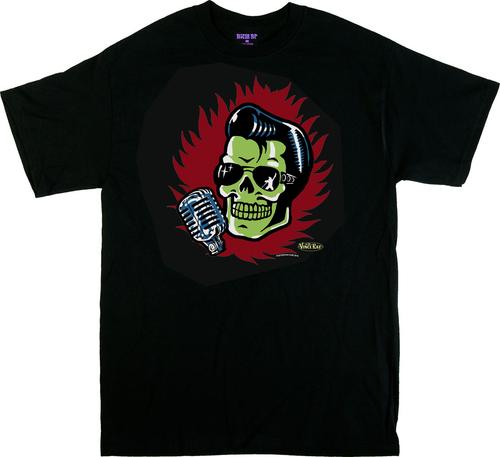 Vince Ray Elvis Skull T-Shirt by Poster Pop, Front Print, Skull, Elvis Presley, Rocker, Singer, Microphone, Red, Flames, 13, Rockabilly