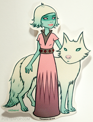 Artist Tara McPherson Astra Orbit Sticker Space Girl with Wolf Dog