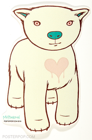 Artist Tara McPherson Borealis Bear Heart Poster Pop Sticker