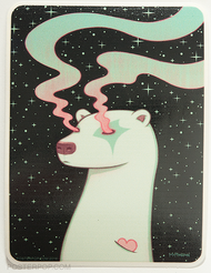 Artist Tara McPherson Borealis Sky Sticker. Polar Bear Heart with Northern Lights Eyes