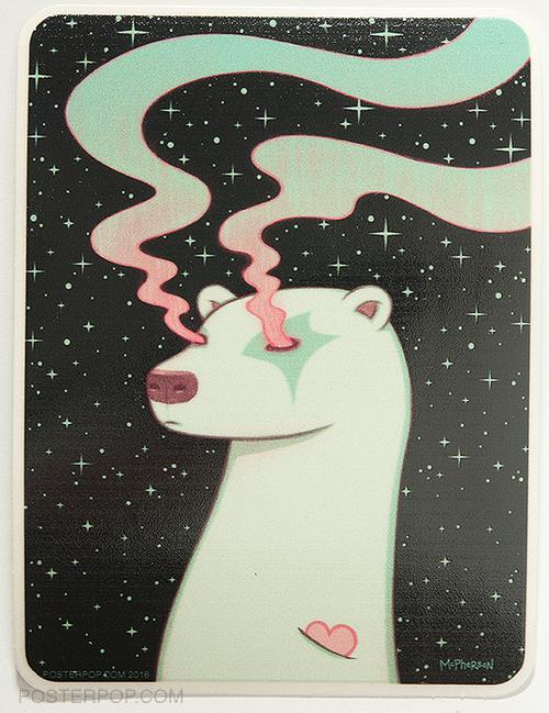 Artist Tara McPherson Borealis Sky Sticker. Polar Bear Heart with Northern Lights Eyes