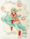 Artist Tara McPherson Bunny Rider Sticker. Girl Riding Bunny Space with Wiggle Balloons.