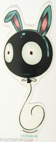 Artist Tara McPherson Wiggle Bunny Poster Pop Sticker, Floating Balloon, Eyes, Face Mr Wiggles