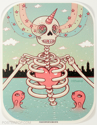 Artist Tara McPherson Skeleton Heart Poster Pop Sticker. Skull Skeleton in Water Lake with Sea Friends