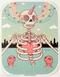 Artist Tara McPherson Skeleton Heart Poster Pop Sticker. Skull Skeleton in Water Lake with Sea Friends