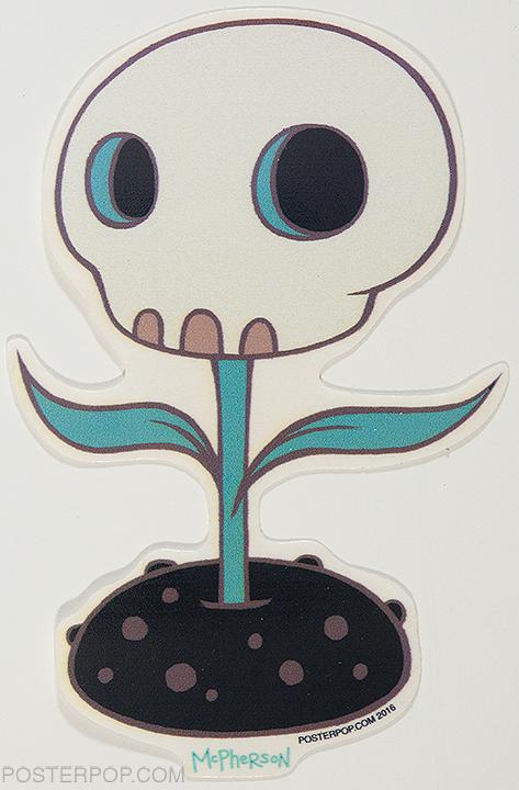 Artist Tara McPherson New Skull Flower Poster Pop Sticker. Day of the Dead Skull Flower Face