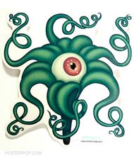 Artist Tara McPherson Eye Lilly Sticker. Eyeball Flower with Tentacles, Green