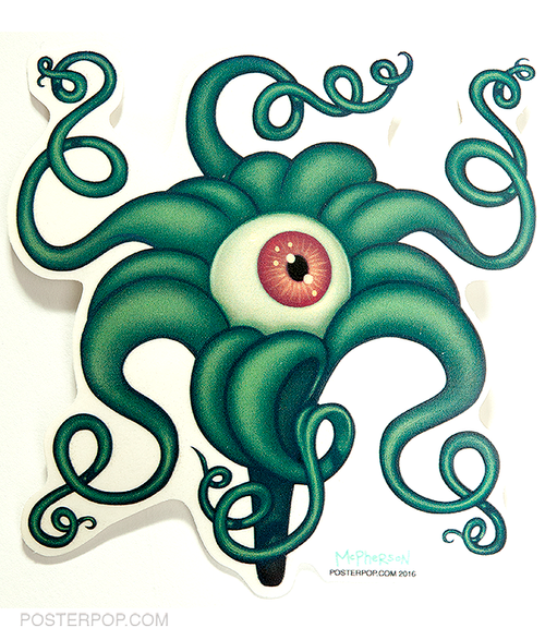 Artist Tara McPherson Eye Lilly Sticker. Eyeball Flower with Tentacles, Green